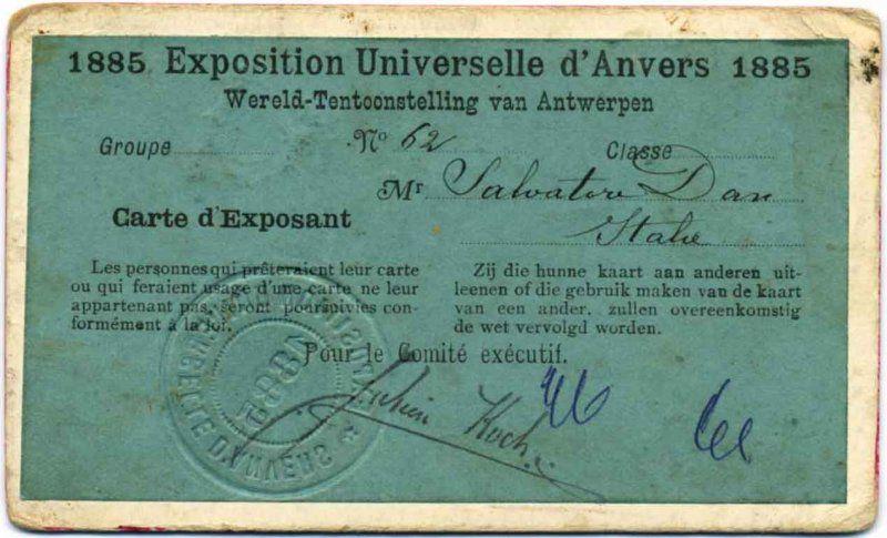 EXPO 1885 ANVERSA_Carte d'Exposant_MilanoPlatinum