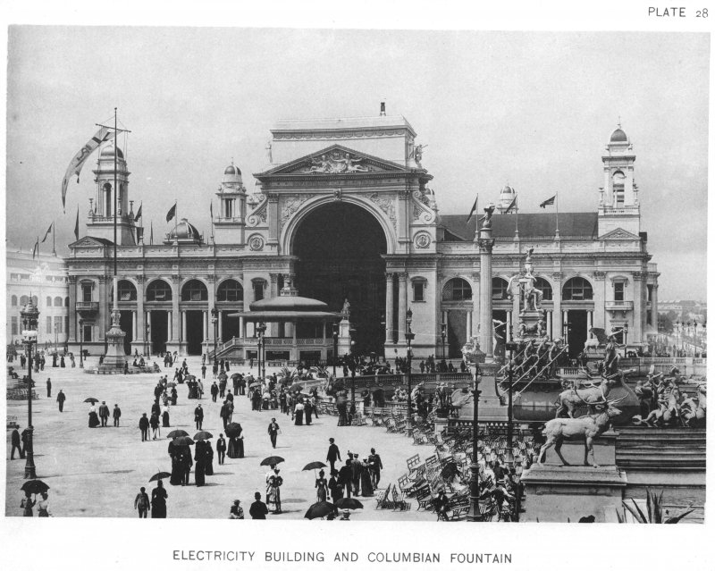 EXPO_1893_Chicago_Electricity_Building_And_Columbian_Fountain
