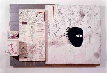 Jean-Michel Basquiat in mostra al MUDEC_Jean-Michel Basquiat Embittered, 1986 Collage, pencil and painting on wood, 125,7x184 cm © The Estate of Jean-Michel Basquiat by SIAE 2016_MilanoPlatinum