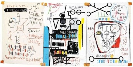 Jean-Michel Basquiat in mostra al MUDEC_Jean-Michel Basquiat Five Fish Species, 1983 Acrylic and oil stick on canvas mounted on wood supports – three panels, 169,8x356,8 cm © The Estate of Jean-Michel Basquiat by SIAE 2016_MilanoPlatinum