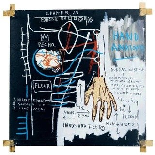 Jean-Michel Basquiat in mostra al MUDEC_Jean-Michel Basquiat Untitled (Hand Anatomy), 1982 Acrylic, oil, oil stick and paper collage on canvas with tied wood supports, 152,5x152,5 cm Private collection © The Estate of Jean-Michel Basquiat by SIAE 2016_MilanoPlatinum