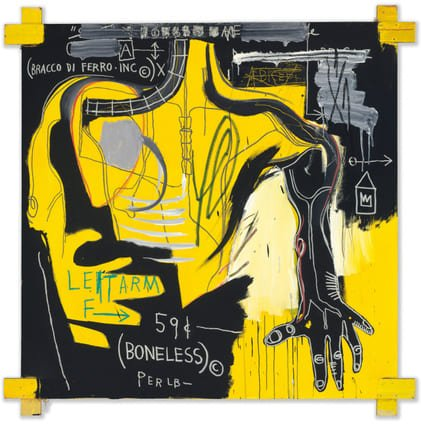 Jean-Michel Basquiat in mostra al MUDEC_Jean-Michel Basquiat Untitled (Bracco di Ferro), 1983 Acrylic and oil stick on canvas with wood supports, 182,8x182,8 cm Private collection © The Estate of Jean-Michel Basquiat by SIAE 2016_MilanoPlatinum