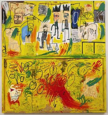 Jean-Michel Basquiat in mostra al MUDEC_Jean-Michel Basquiat Untitled (Yellow Tar and Feathers), 1982 Acrylic, oil stick, crayon, paper collage and feathers on joined wood panels, 245x229,2 cm Private collection © The Estate of Jean-Michel Basquiat by SIAE 2016_MilanoPlatinum