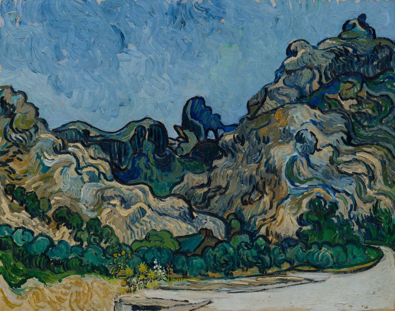 Vincent van Gogh  Montagne a Saint-Rémy (Montagnes à Saint-Rémy), Saint-Rémy-de-Provence, luglio 1889 Olio su tela, 72,8 × 92 cm Solomon R. Guggenheim Museum, New York Thannhauser Collection, Gift, Justin K. Thannhauser 78.2514.24  © Solomon R. Guggenheim Foundation, New York (SRGF)