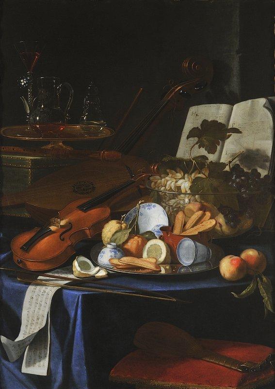 Natura morta con violino, frutta e bicchiere Cristoforo Munari Reggio Emilia 1667- Pisa 1720 1706 circa olio su tela Modena, Galleria Estense