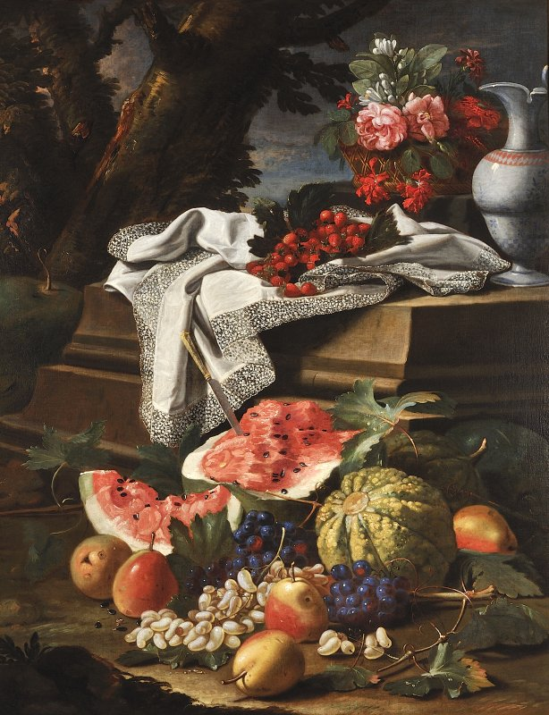 Natura morta con cesto di fiori, brocca di porcellana cinese e frutta Cristoforo Munari Reggio Emilia 1667- Pisa 1720 1706 circa olio su tela Modena, Galleria Estense