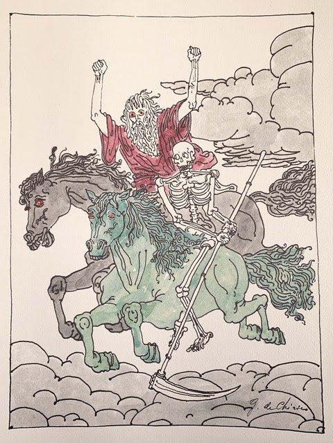 L'Apocalisse è un testo su cui de Chirico si cimenta una prima volta nel '41 e poi torna colorandone le tavole a mano negli anni '70