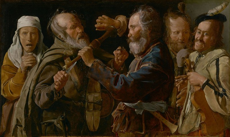 Georges de La Tour La rissa tra musici mendicanti, 1625 - 1630 ca. Olio su tela, 85,7 x 141 cm The J. Paul Getty Museum, Los Angeles, Stati Uniti