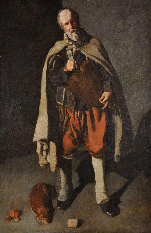 Georges de La Tour Il suonatore di ghironda con cane, 1622 - 1625 Olio su tela, 186 x 120 cm Musée du Mont-de-Piété, Bergues, Francia