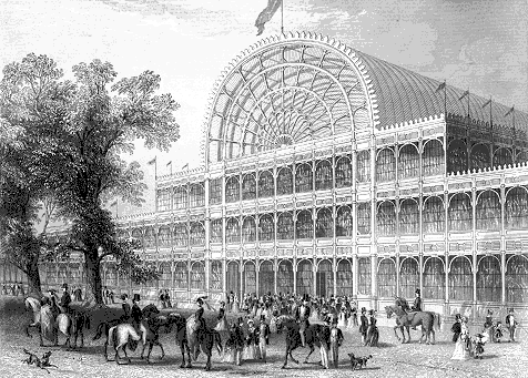 Crystal Palace - The front entrance of the Crystal Palace, Hyde Park, London 1851 (Wikimedia Commons)