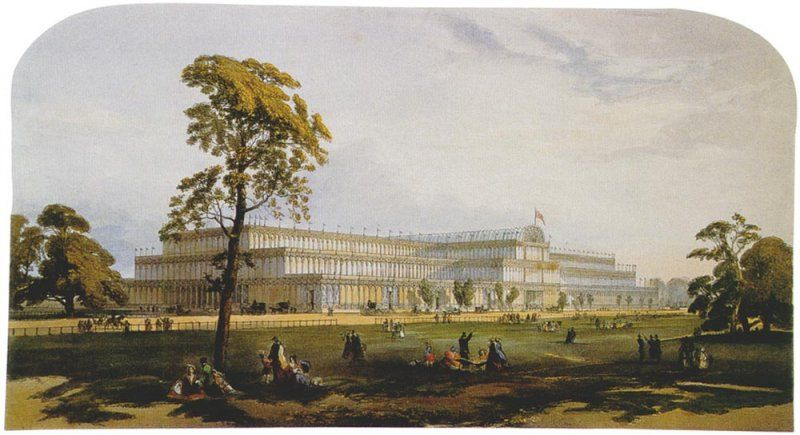 Crystal Palace from the northeast from Dickinson's Comprehensive Pictures of the Great Exhibition of 1851-1854 (Wikimedia Commons)
