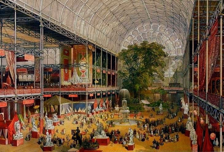 Crystal Palace, interno 2 [McNeven, J., The transept from the Grand Entrance, William Simpson (lithographer, Ackermann & Co. (publisher)] (Wikimedia Commons)