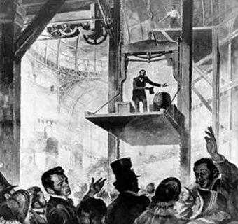 Elisha Otis 1854 - [Public domain] via Wikimedia Commons