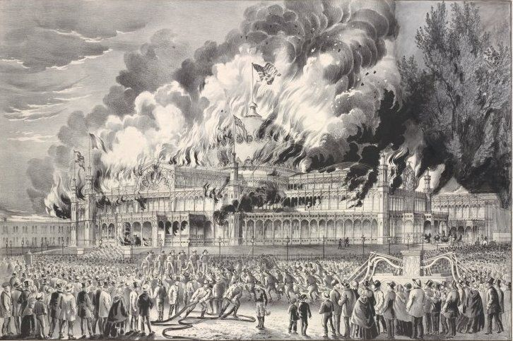 One of the most famous fires in all of New York history - the destruction of the legendary Crystal Palace exhibition hall 1858(holloway63.wordpress.com)