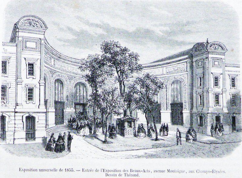 Palazzo delle Belle Arti - By photo E2, dessin Thérond (Le magasin pittoresque juillet 1855) [Public domain] via Wikimedia Commons