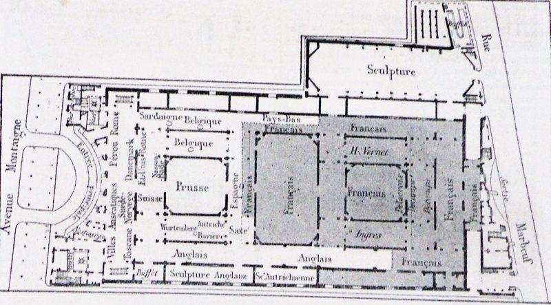 Pianta del Palazzo delle Belle Arti - By photo E2, dessin Thérond (Le magasin pittoresque 1855) [Public domain] via Wikimedia Commons