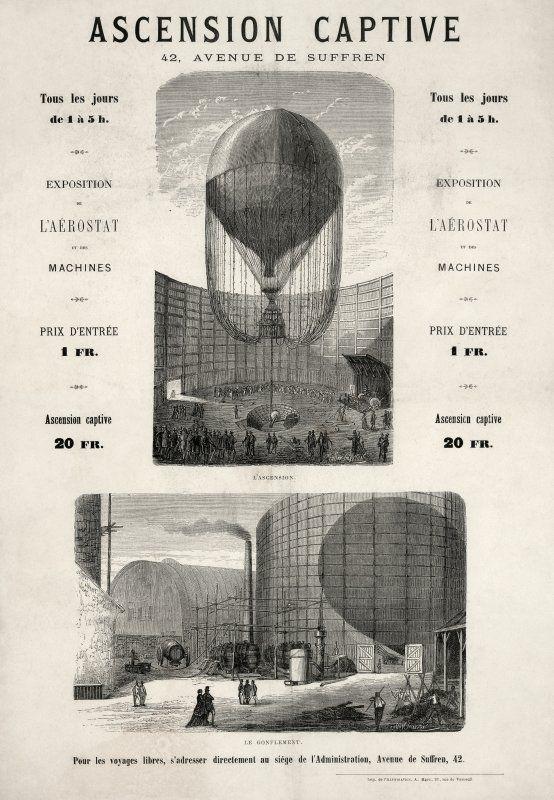 Expo 1867 Parigi - Ascensore-Pallone aerostatico - [Public domain], via Wikimedia Commons