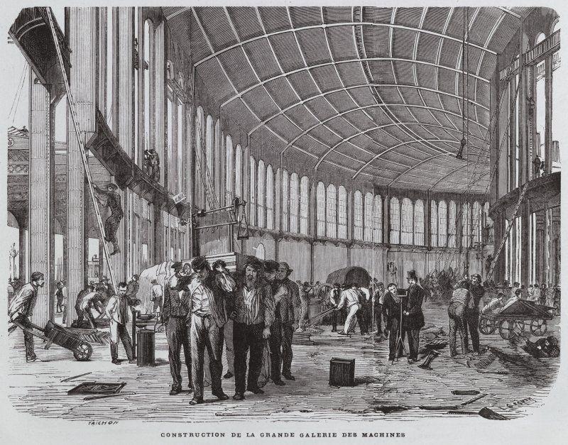 Expo 1867 Parigi - Grande Galleria dei Macchinari in costruzione - By Trichon [Public domain], via Wikimedia Commons