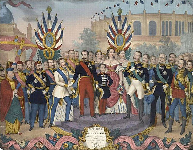 Expo 1867 Parigi - Napoleone III accoglie personaggi illustri - By Anonymous ([1]) [Public domain], via Wikimedia Commons