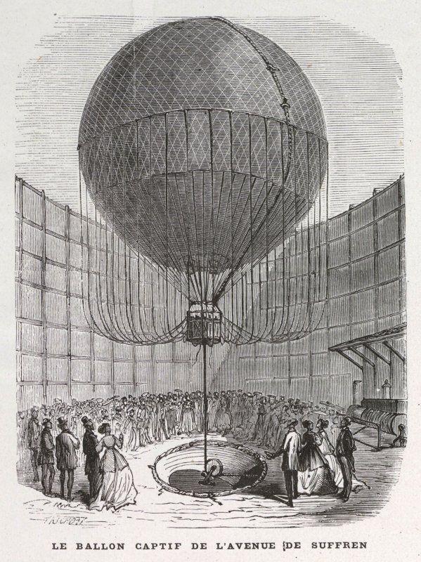 Expo 1867 Parigi - Pallone aerostatico-ascensore - By Trichon [Public domain], via Wikimedia Commons