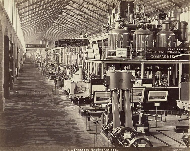 Expo 1873 Vienna, macchinari francesi - Oscar Kramer [Public domain], via Wikimedia Commons