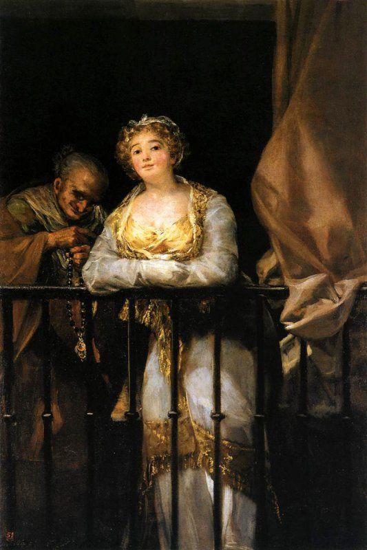 Francisco Goya - Maja e Celestina al balcone (1808-1812, Palma di Maiorca, Collezione March)