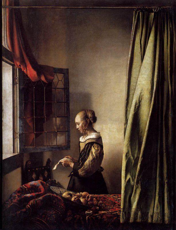 Jan Vermeer - Donna che legge una lettera davanti alla finestra, 1657 circa, Gemäldegalerie di Dresda.