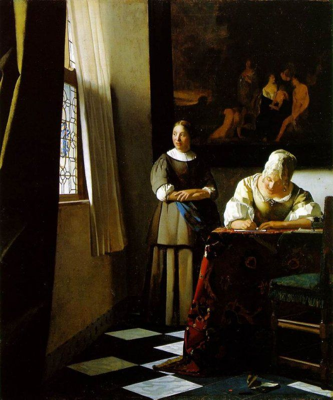Jan Vermeer - Donna che scrive una lettera alla presenza della domestica, 1670-71, National Gallery of Ireland