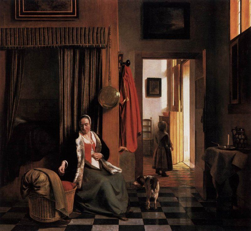 Pieter De Hooch - Donna che si allaccia il corpetto vicino a una culla, 1660 circa, Gemäldegalerie, Berlin