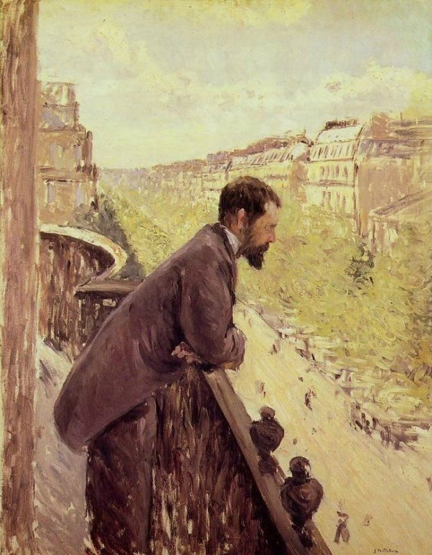 Gustave Caillebotte -  L'homme au balcon, Man on a Balcony
