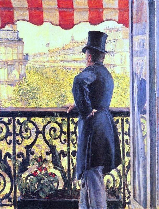 Gustave Caillebotte - Uomo al balcone di Boulevard Haussmann (1877)
