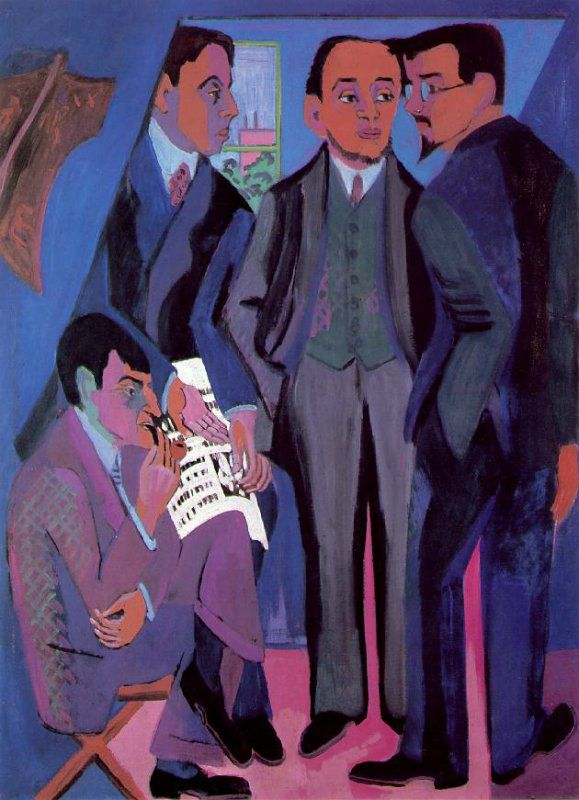 POST-IMPRESSIONISMO ED ESPRESSIONISMO - Ernst Ludwig Kirchner - I pittori della Brücke (da sinistra Müller, Kirchner, Heckel e Schmidt Rotluff)