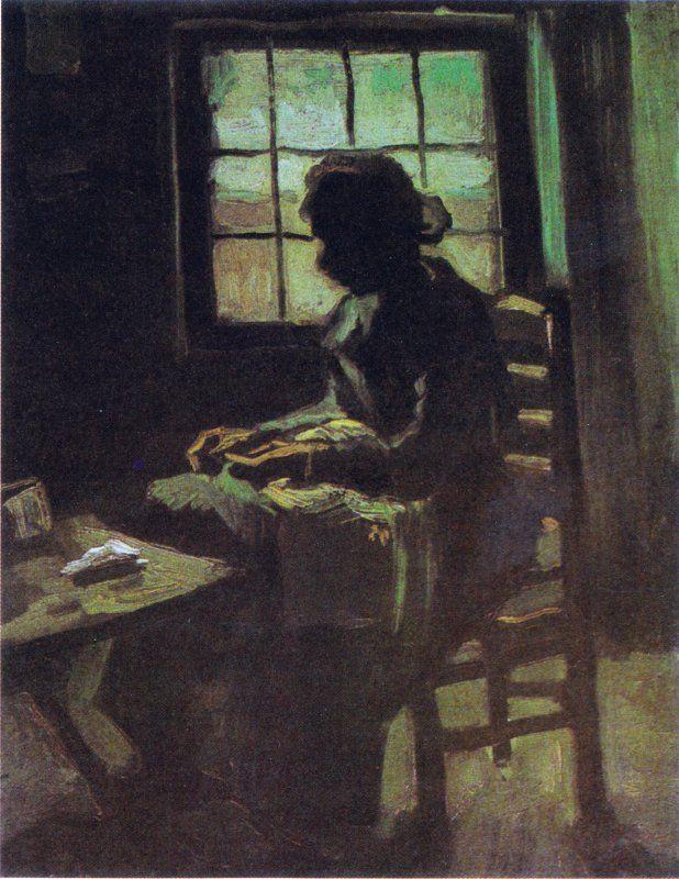 POST-IMPRESSIONISMO ED ESPRESSIONISMO - Van Gogh - Bäuerin, nähend, vor einem Fenster