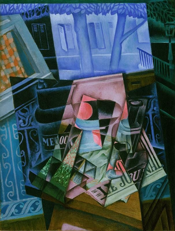 Juan Gris - Natura Morta davanti a una Finestra aperta, 1915, Place Ravignan, Philadelphia Museum of Art (Artist/Maker, Details of artist on Google Art Project)   [Public domain], via Wikimedia Commons)