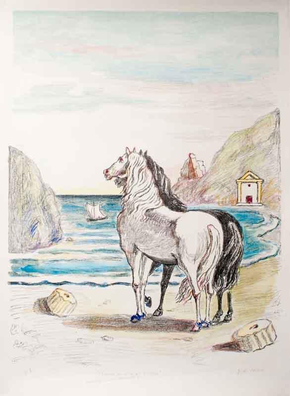 Cavalli-in-riva-al-Tirreno,-1970---Giorgio-de-Chirico,-litografia-colorata-a-mano-dall'artista