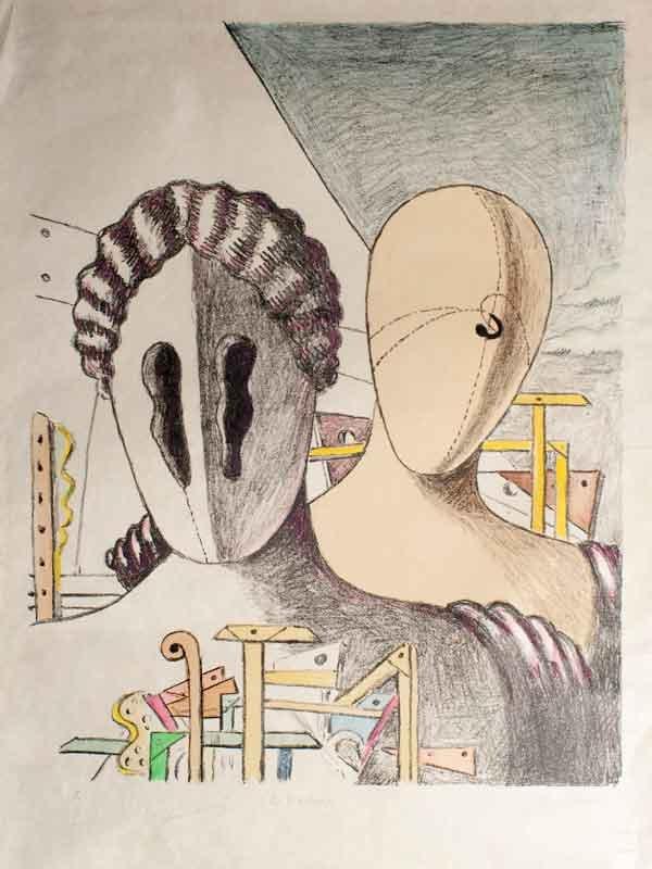 Giorgio-de-Chirico,-__Le-Maschere,-1970---Litografia-colorata-a-mano-dall'autote