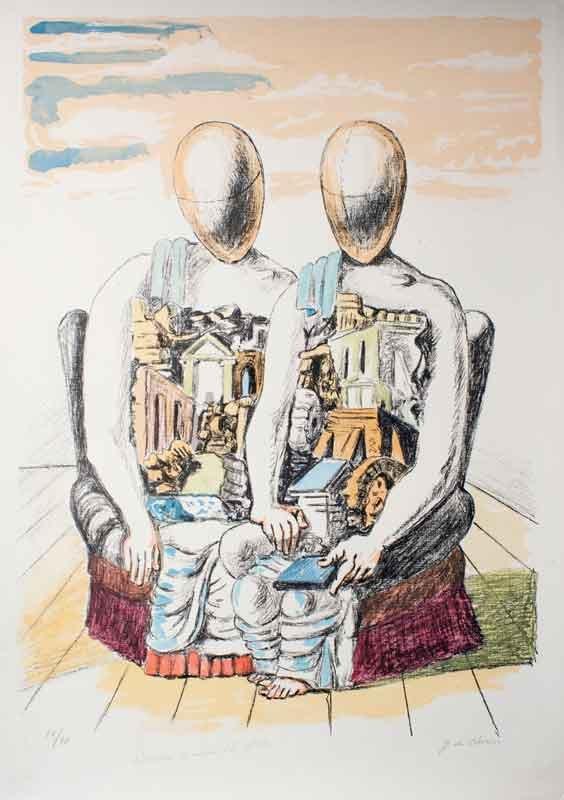 Gli-Archeologi---Giorgio-de-Chirico,-litografia-colorata-a-mano-dall'artista