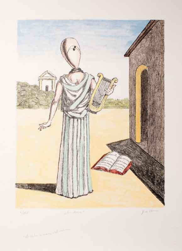 La-musa-della-storia,-1972---Giorgio-de-Chirico,-litografia-colorata-a-mano-dall'artista