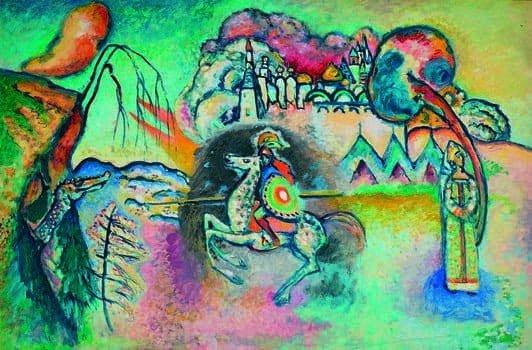Kandinskij, il cavaliere errante in mostra al Mudec_Il cavaliere (San Giorgio), 1914-15 Olio su cartoncino, cm 61 x 91, Mosca, Galleria Tret'jakov © State Tretyakov Gallery, Moscow, Russia _MilanoPlatinum