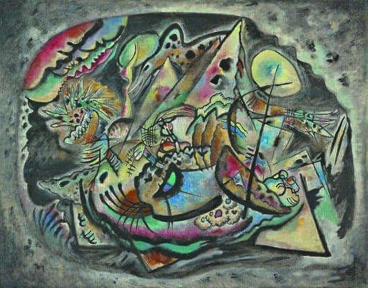 Kandinskij, il cavaliere errante in mostra al Mudec_Composizione 217 (Ovale grigio), 1917 Olio su tela, cm 98 x 133 Ekaterinburg, Museo di Belle Arti © Ekaterinburg Museum of Fine Arts, Ekaterinburg, Russia_MilanoPlatinum