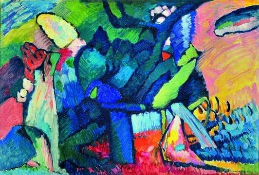 Kandinskij, il cavaliere errante in mostra al Mudec_Improvvisazione 4, 1909 Olio su tela, cm 107 x 159 Nižnij Novgorod, Museo Statale d'Arte © Nizhny Novgorod State Arts Museum, Nizhny Novgorod, Russia_MilanoPlatinum