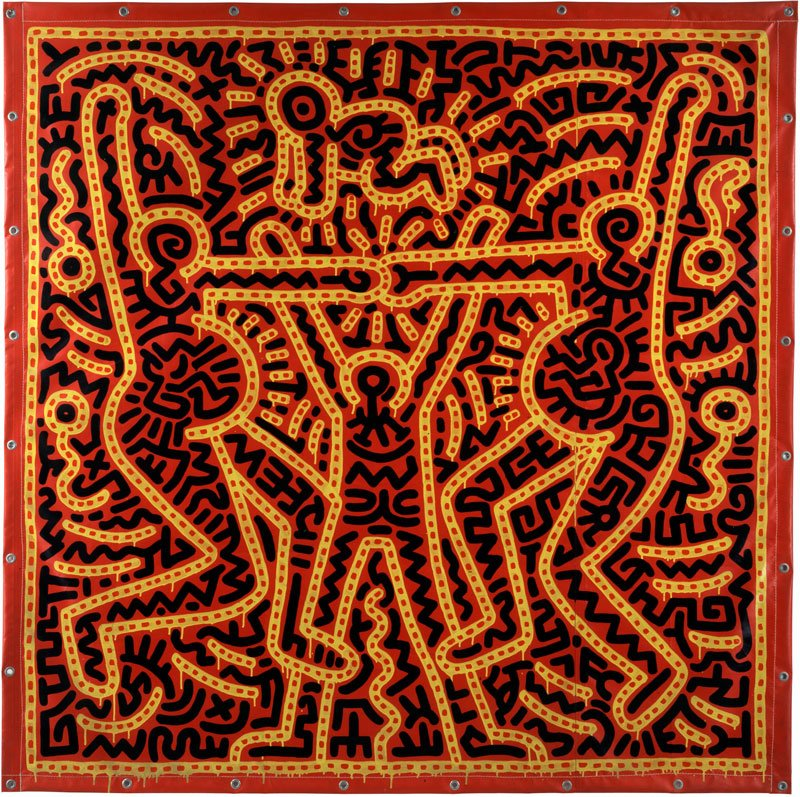 Keith-Haring,-Untitled,-1983-Inchiostro-vinilico-su-telone-di-vinile-213,4-x-213,4-cm-Courtesy-Laurent-Strouk-©-Keith-Haring-Foundation