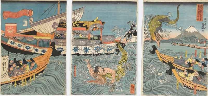 Utagawa Kuniyoshi Asahina Yoshihide combatte con due coccodrilli nel mare nei pressi di Kamakura Kotsubo osservato da Minamoto Yoriie(Minamoto no Yoriie kō Kamakura kotsubo no umi yūran Asahina Yoshihide shiyū no wani o torau zu) 1843 silografia policroma(nishikie) 39x79,5 cm Masao Takashima Collection
