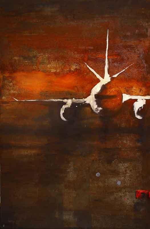 Alessandro-Busci-Aereo_-avorio,-2008-smalto-su-ferro-enamel-on-iron-92x136-cm