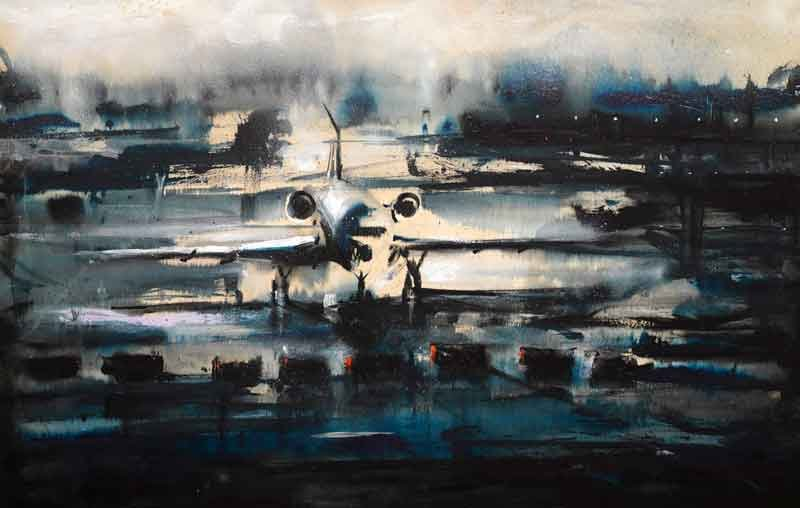 Alessandro-Busci-Aeroporto-_-blu,-2005-inchiostro-e-smalto-su-tavola-ink-and-enamel-on-board-80-¥-125-cm