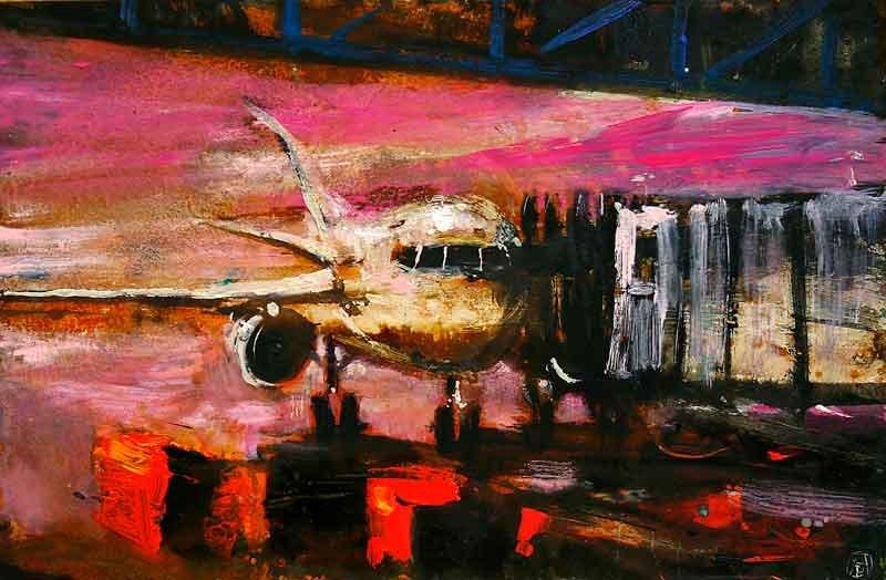 Alessandro-Busci-aereo_fucsia,-2012-smalto-su-ferro-enamel-on-iron-20x30-cm