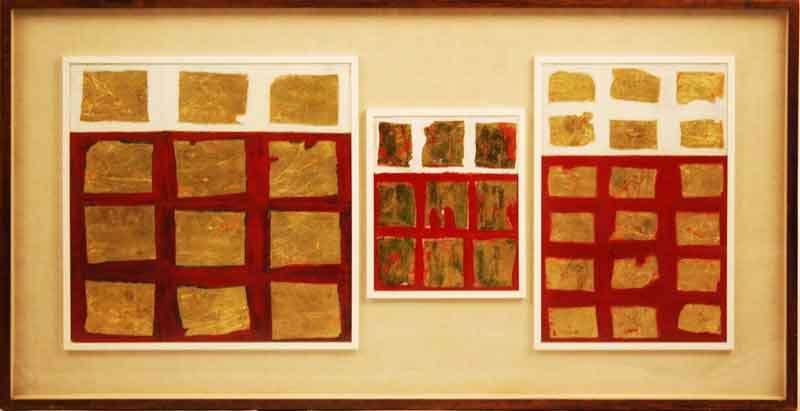 Tableau doré – Senza titolo, 1957 Trittico. Tecnica mista e foglia d'oro su tela Cm 65 x 117  Museo del 900, Milano