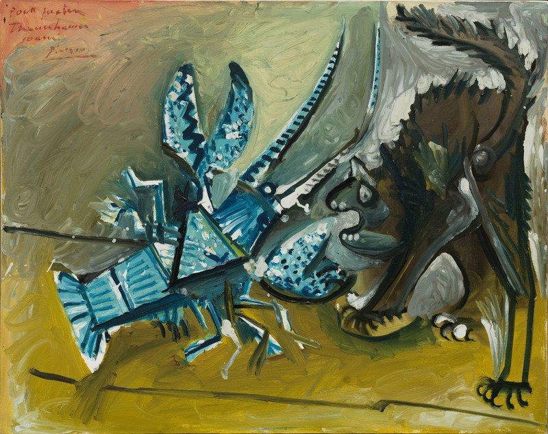 Pablo Picasso Aragosta e gatto (Le homard et le chat), Mougins, 11 gennaio 1965 Olio e smalto (est.) su tela, 73 × 92,1 cm Solomon R. Guggenheim Museum, New York  Thannhauser Collection, Lascito Hilde Thannhauser  91.3916  © Succession Picasso, by SIAE 2019
