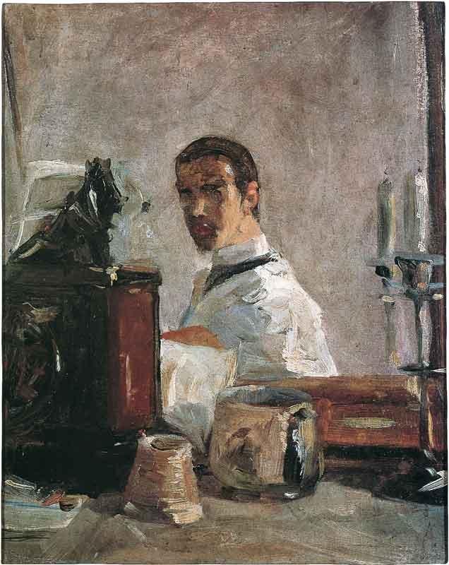 01. Henri de Toulouse-Lautrec, Portrait de Lautrec devant une glace, 1880, olio su cartone, Musée Toulouse-Lautrec, Albi, France