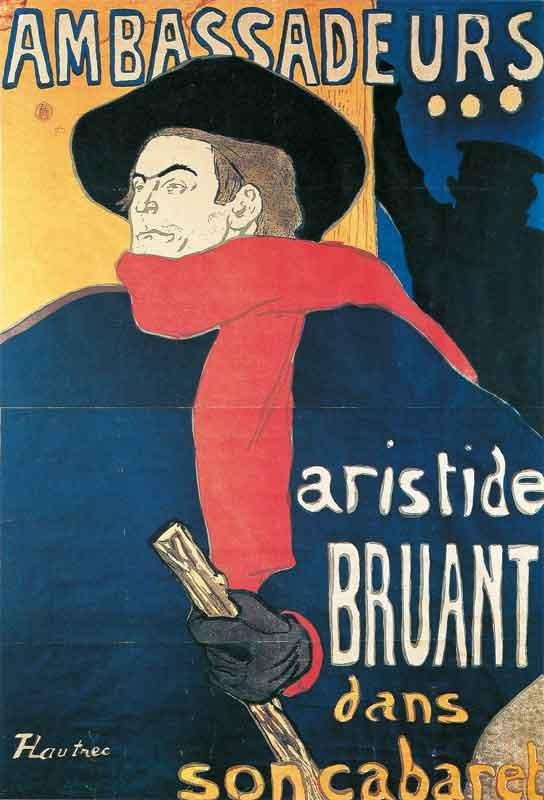08. Henri de Toulouse-Lautrec, Ambassadeurs, Aristide Bruant, 1892, litografia, manifesto, collezione privata
